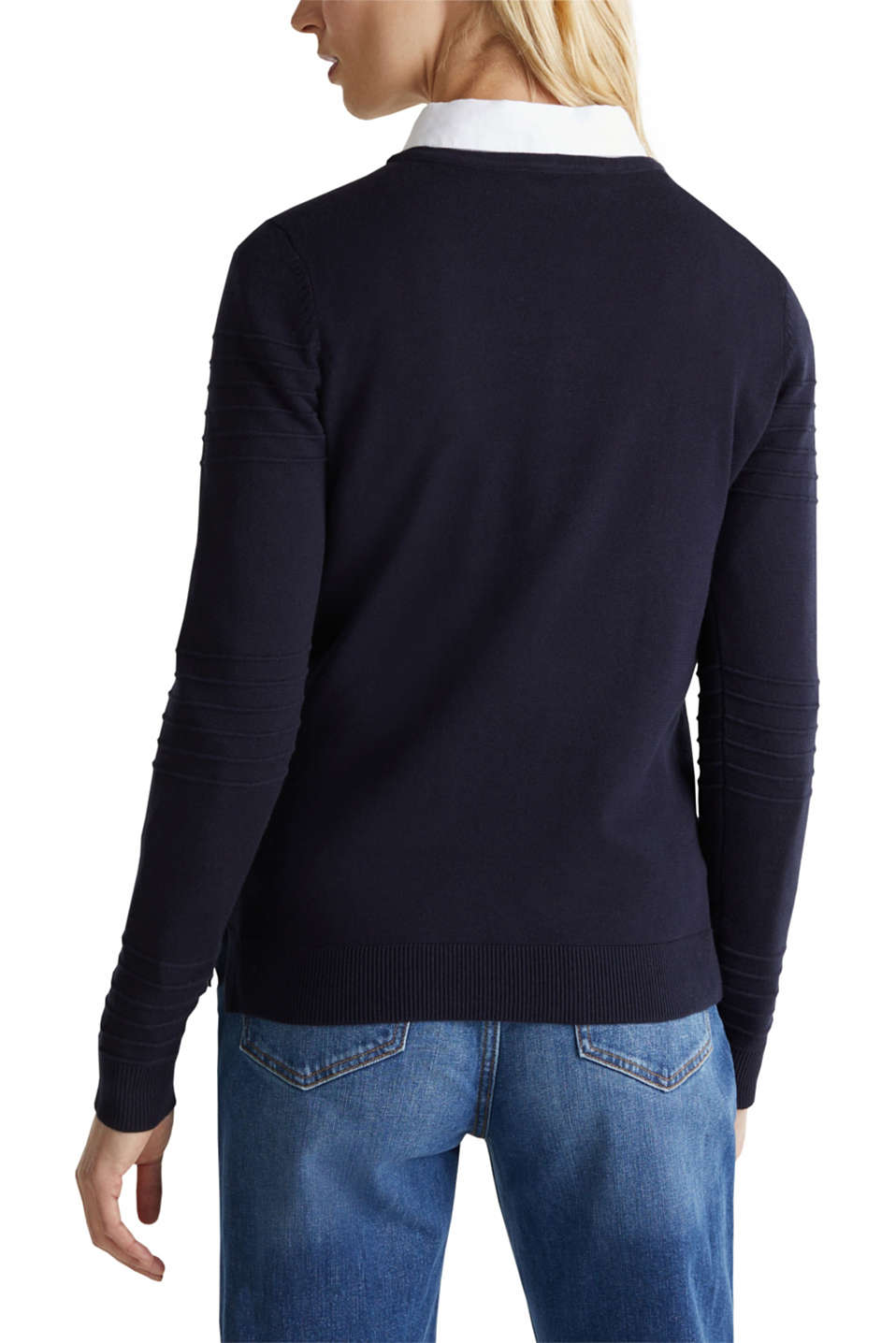 Ribbed-Jumper made of 100% cotton, NAVY, detail image number 3