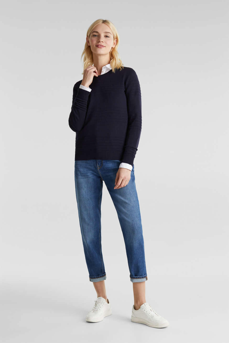 Ribbed-Jumper made of 100% cotton, NAVY, detail image number 1