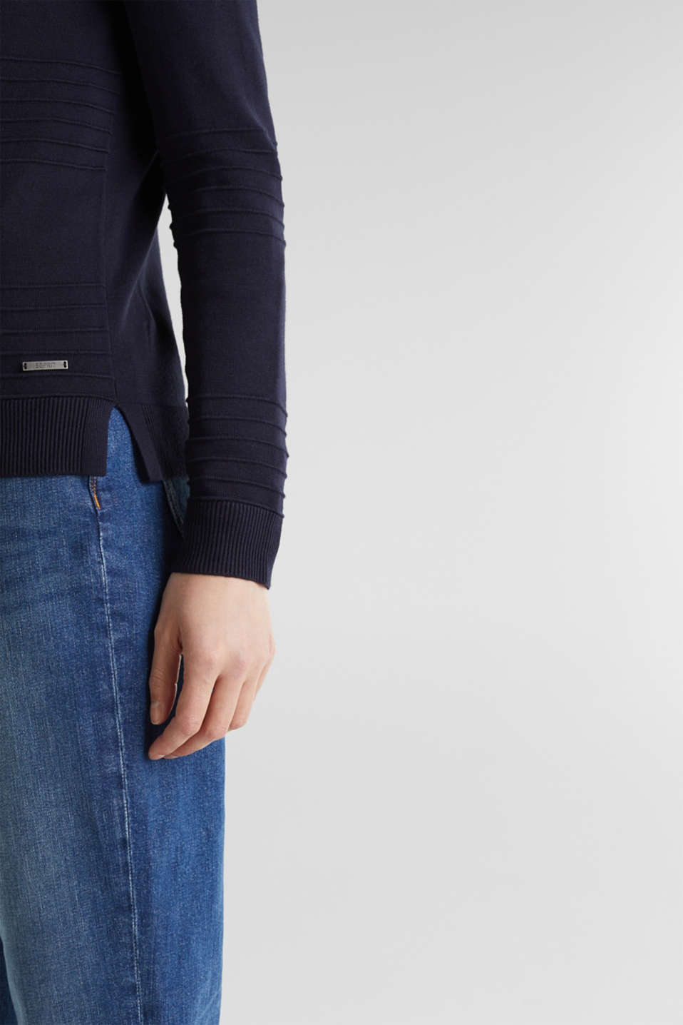 Ribbed-Jumper made of 100% cotton, NAVY, detail image number 2