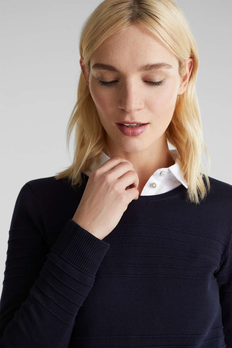 Ribbed-Jumper made of 100% cotton, NAVY, detail image number 5