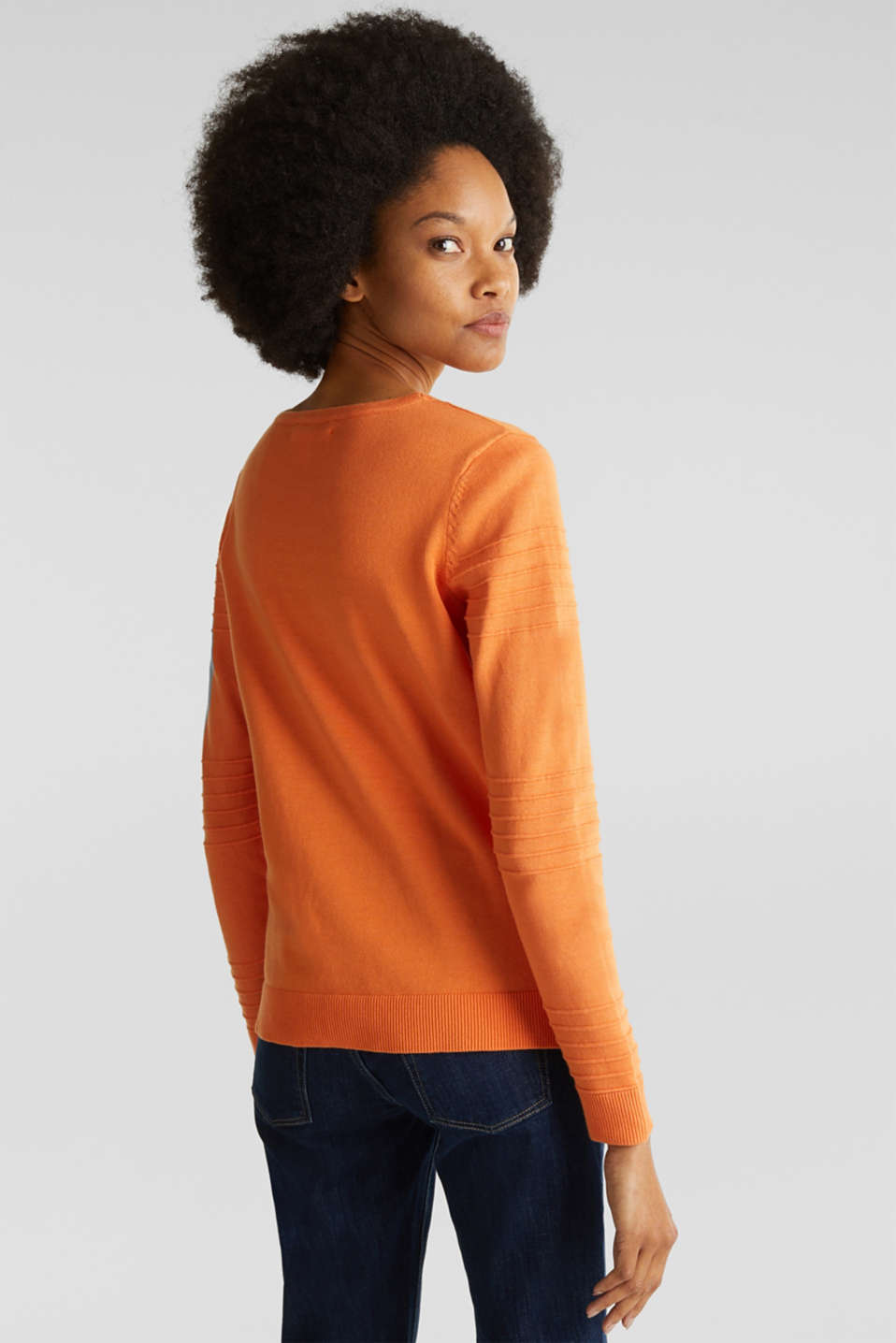 100% cotton jumper with a ribbed texture, RUST ORANGE, detail image number 3
