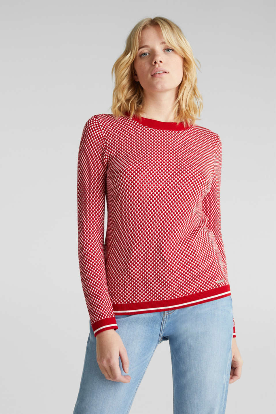 Jumper containing LENZING™ ECOVERO™, DARK RED 4, detail image number 0