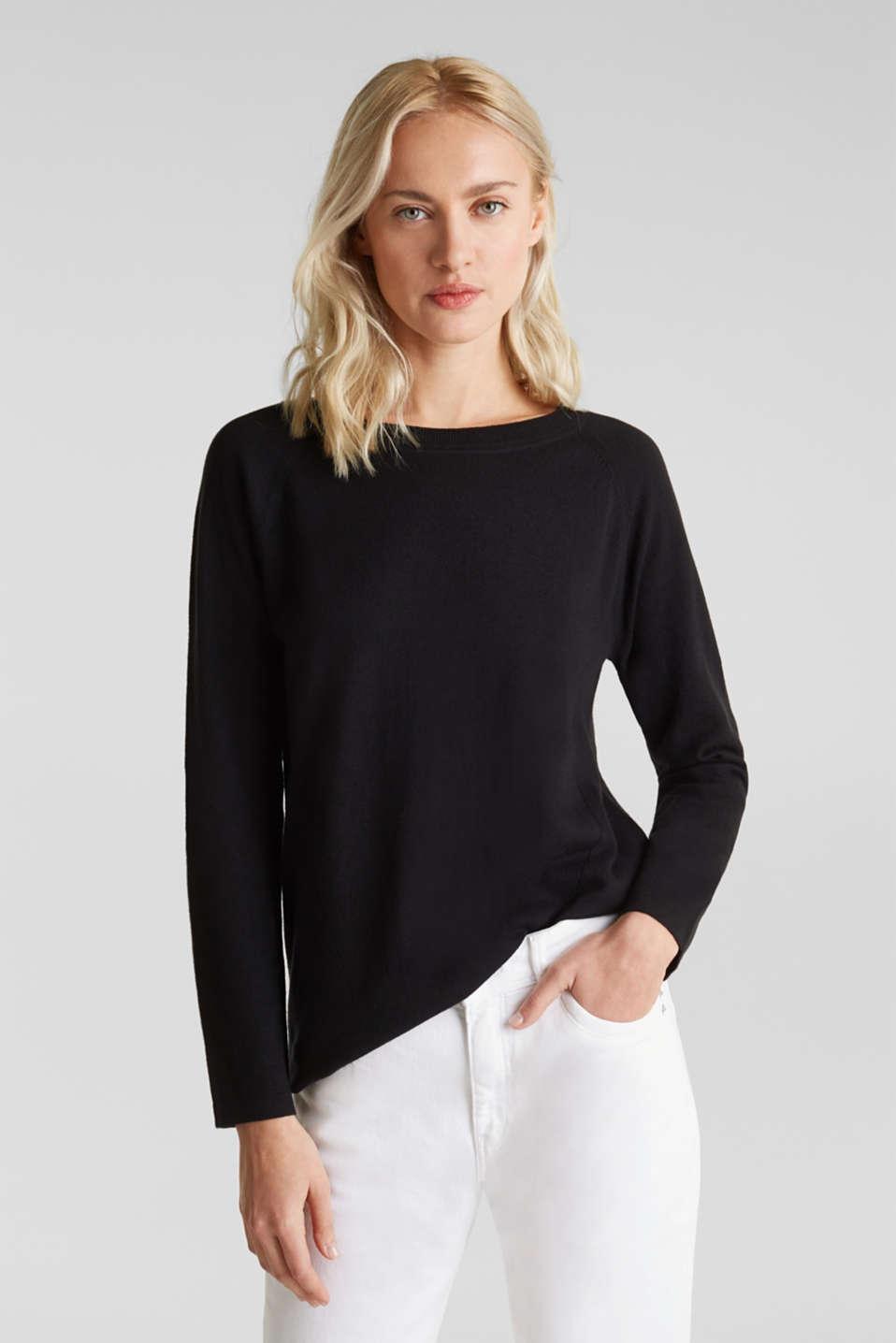With linen: Jumper with open-work patterned details, BLACK, detail image number 0