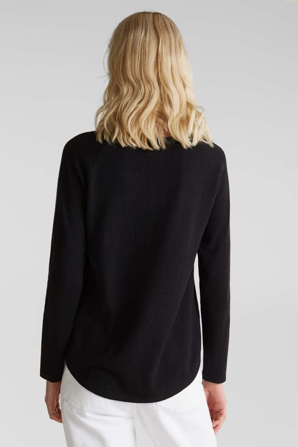 With linen: Jumper with open-work patterned details, BLACK, detail image number 2