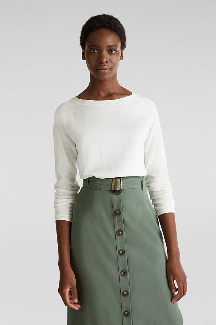 Met linnen: trui met siergaatjes, OFF WHITE, detail image number 0