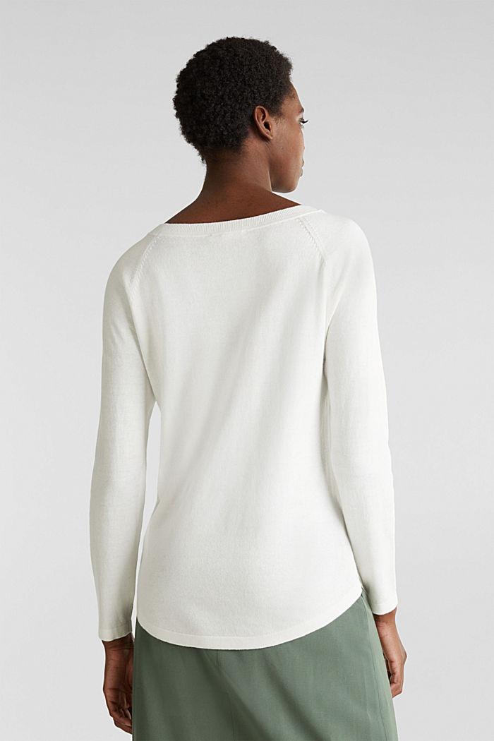 Met linnen: trui met siergaatjes, OFF WHITE, detail image number 3