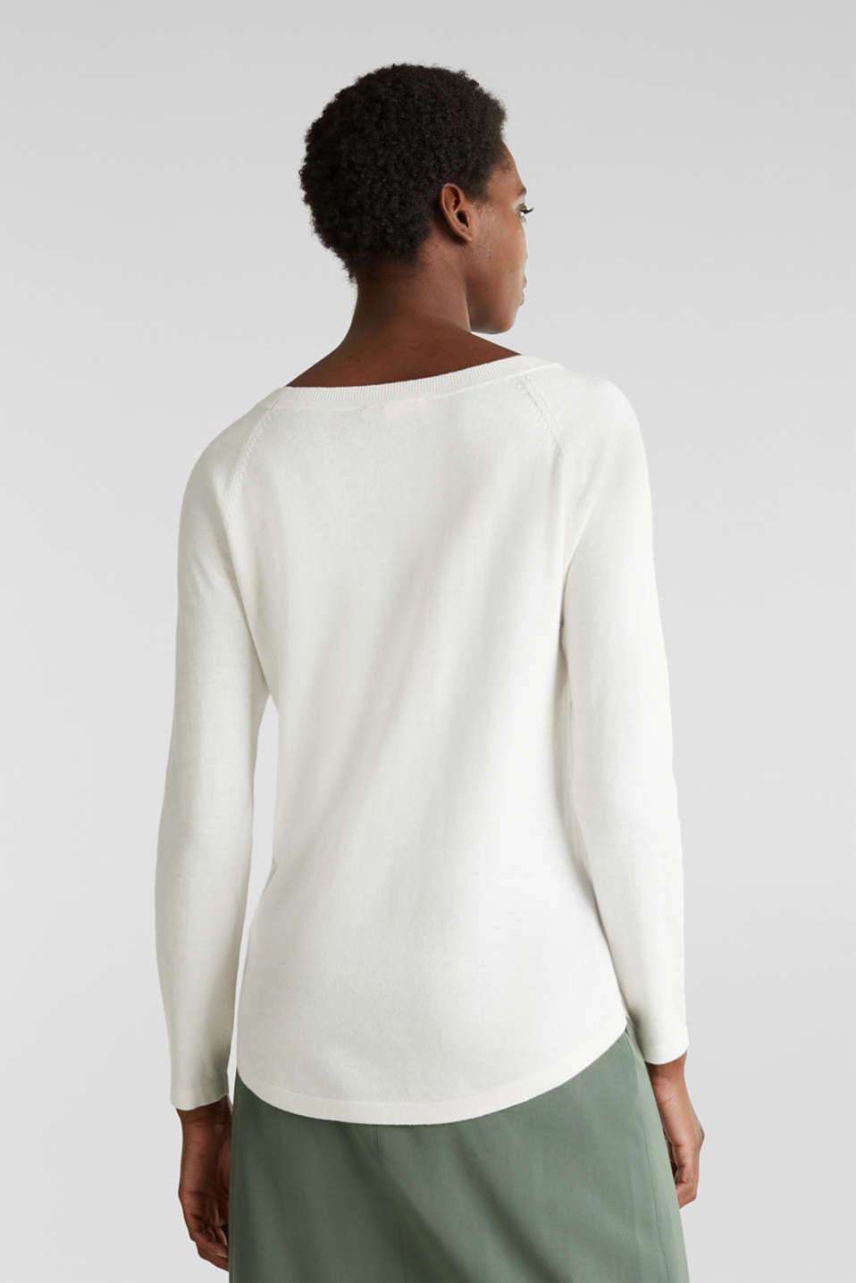 With linen: Jumper with open-work patterned details, OFF WHITE, detail image number 3
