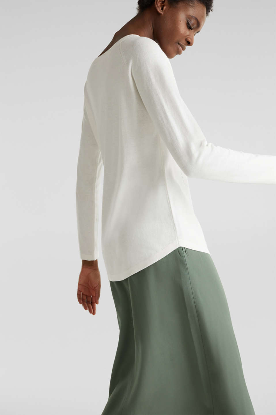 With linen: Jumper with open-work patterned details, OFF WHITE, detail image number 2
