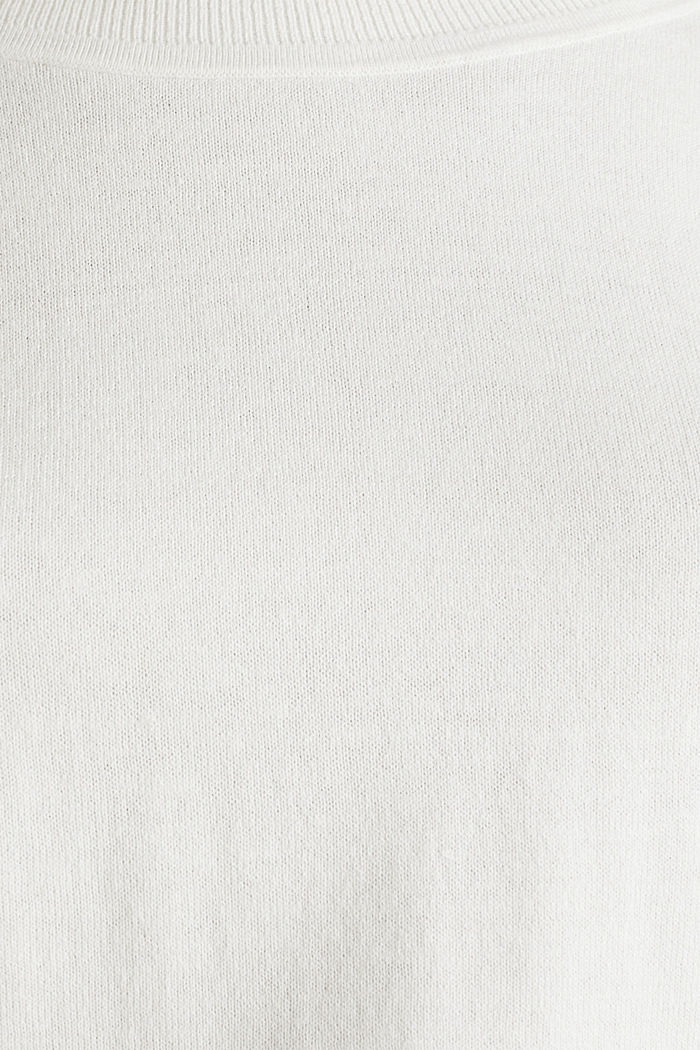 With linen: Jumper with open-work patterned details, OFF WHITE, detail image number 4