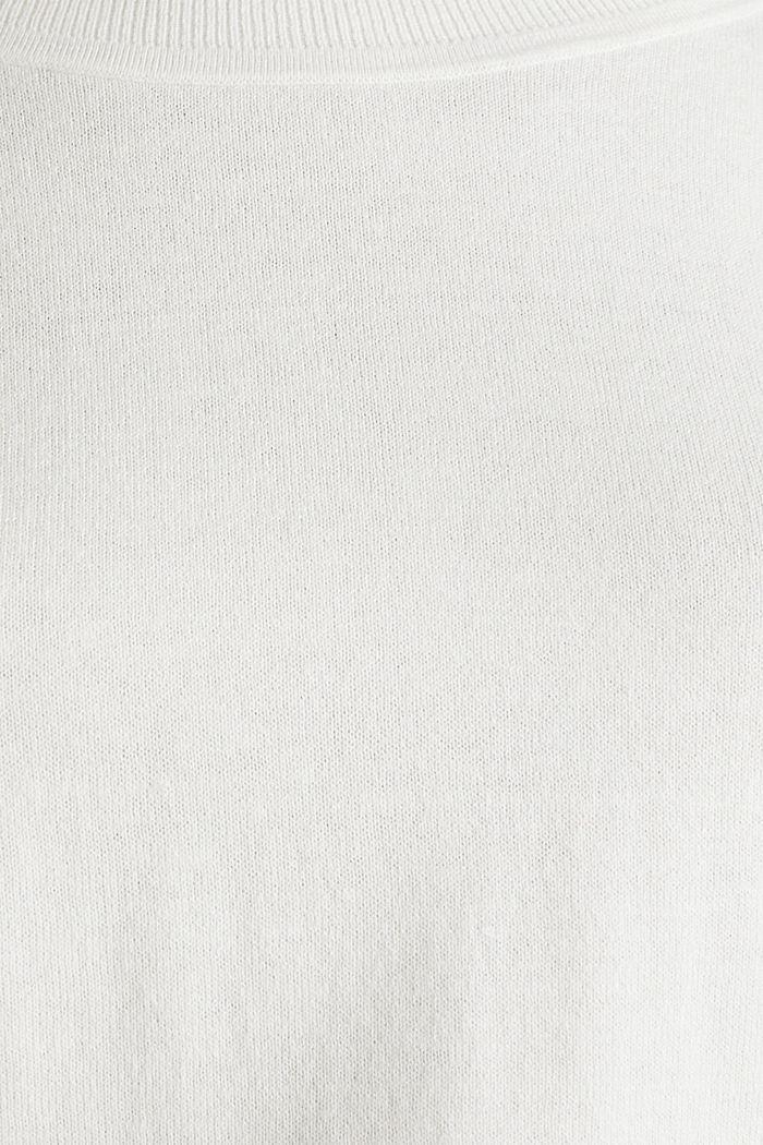 Met linnen: trui met siergaatjes, OFF WHITE, detail image number 4