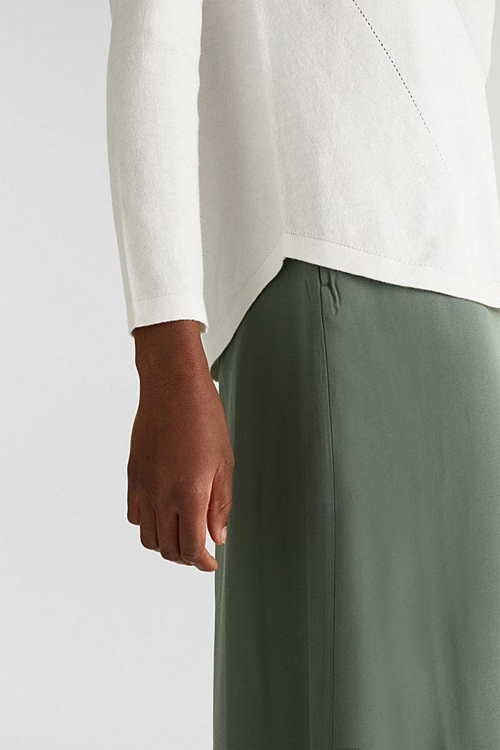 Met linnen: trui met siergaatjes, OFF WHITE, detail image number 5