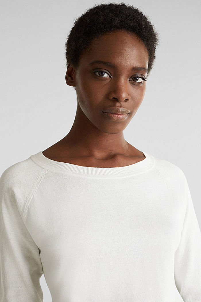 With linen: Jumper with open-work patterned details, OFF WHITE, detail image number 6