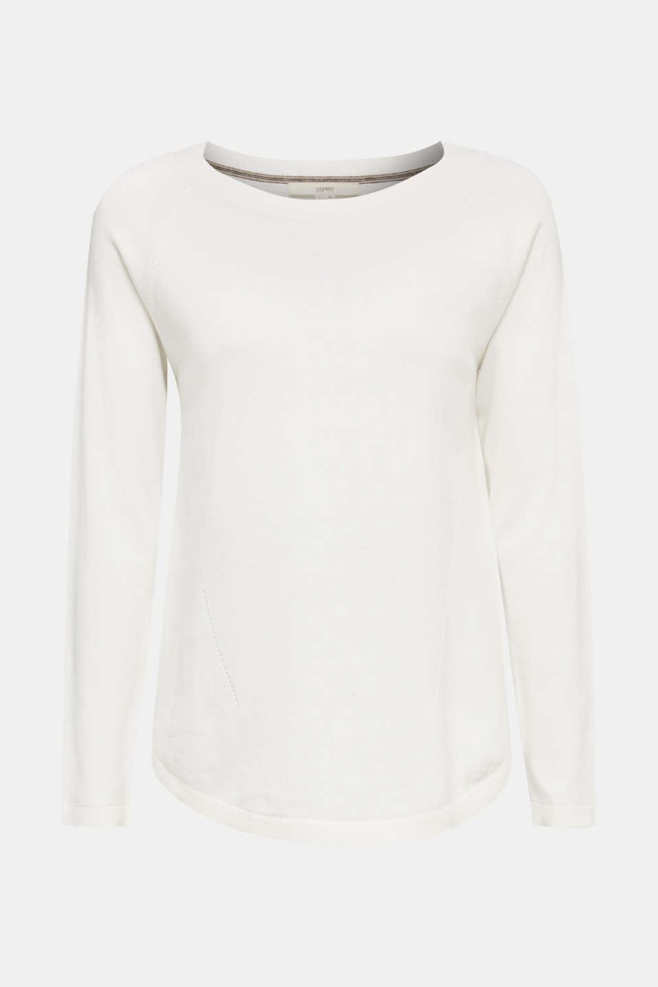 With linen: Jumper with open-work patterned details, OFF WHITE, detail image number 7