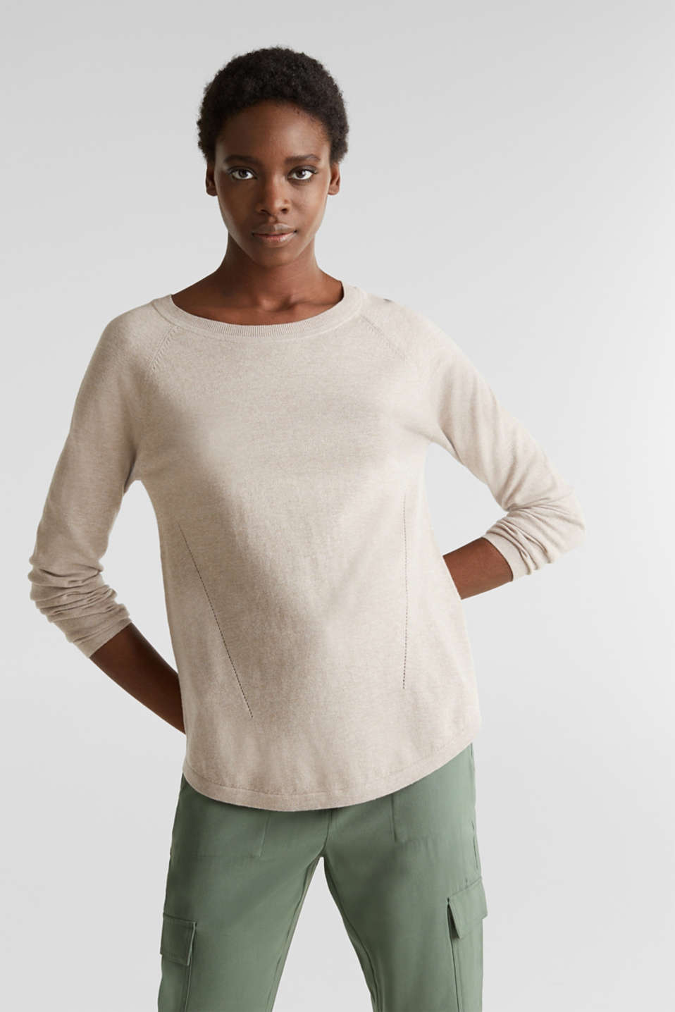 With linen: Jumper with open-work patterned details, BEIGE 5, detail image number 0