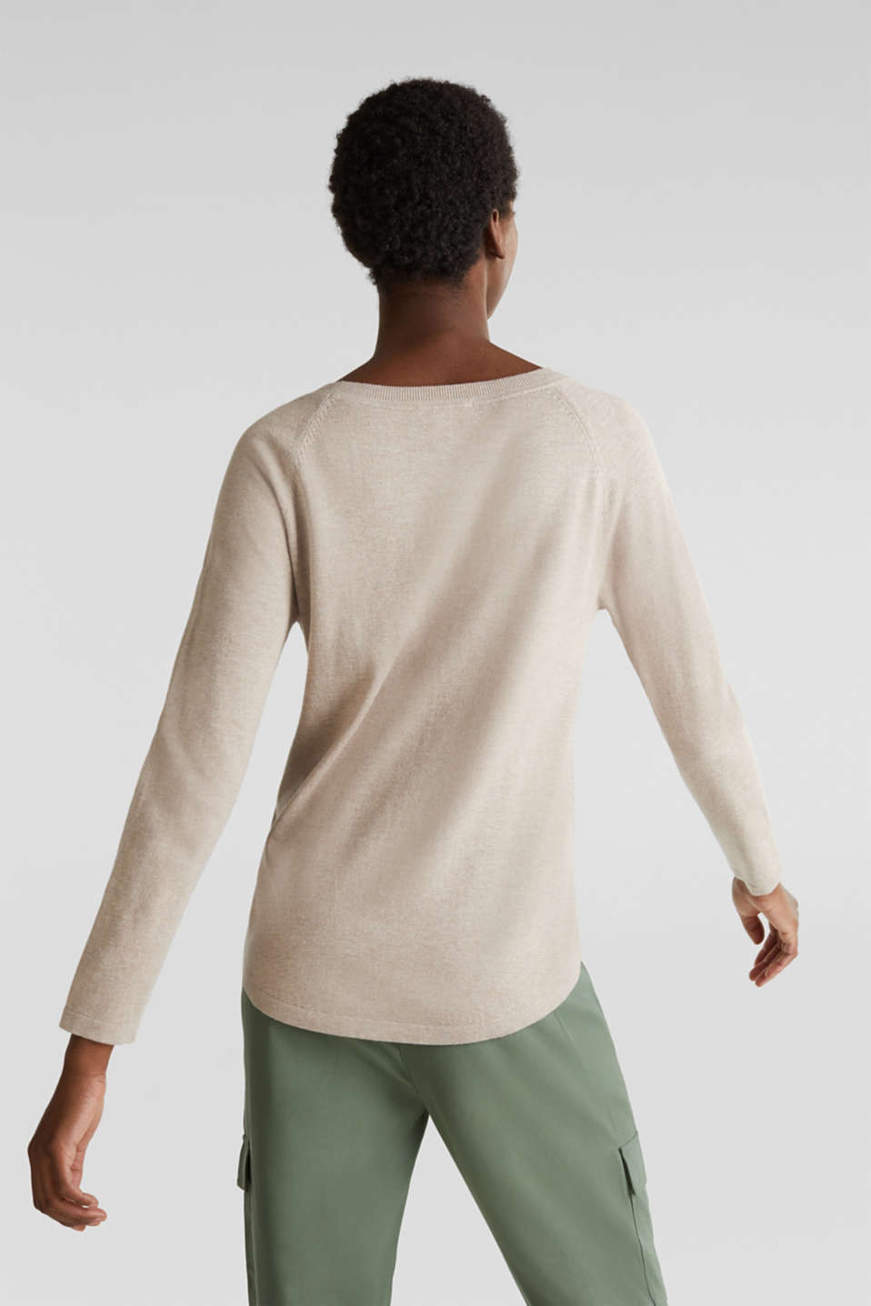 With linen: Jumper with open-work patterned details, BEIGE 5, detail image number 2