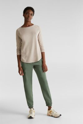 With linen: Jumper with open-work patterned details, BEIGE 5, detail