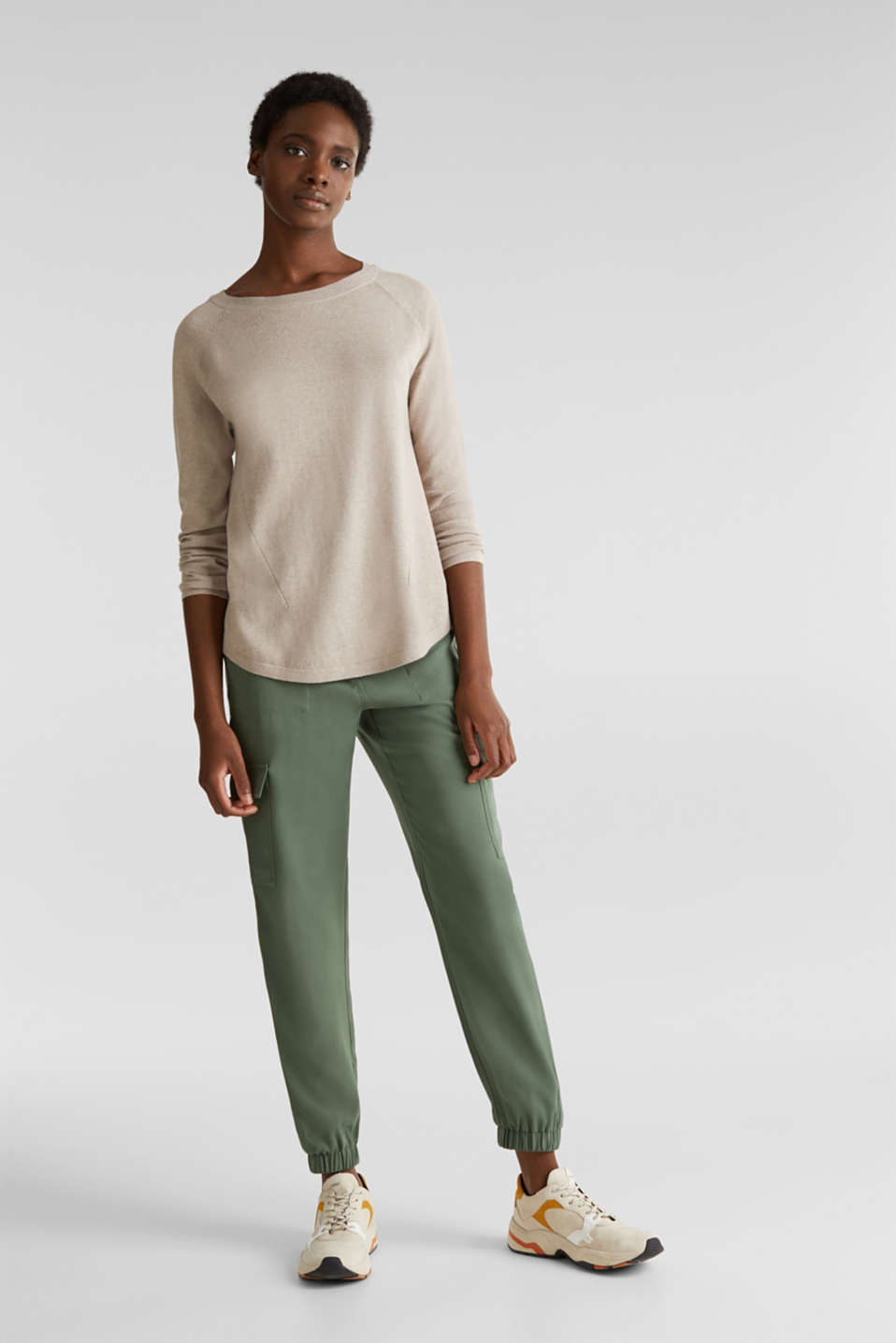 With linen: Jumper with open-work patterned details, BEIGE 5, detail image number 1