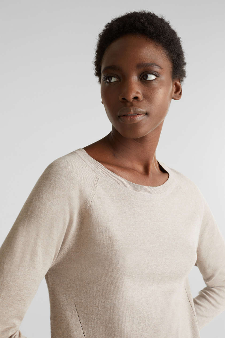 With linen: Jumper with open-work patterned details, BEIGE 5, detail image number 5