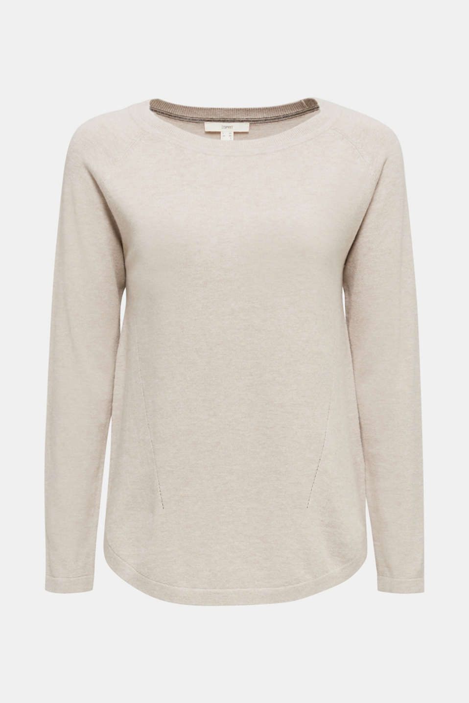 With linen: Jumper with open-work patterned details, BEIGE 5, detail image number 6