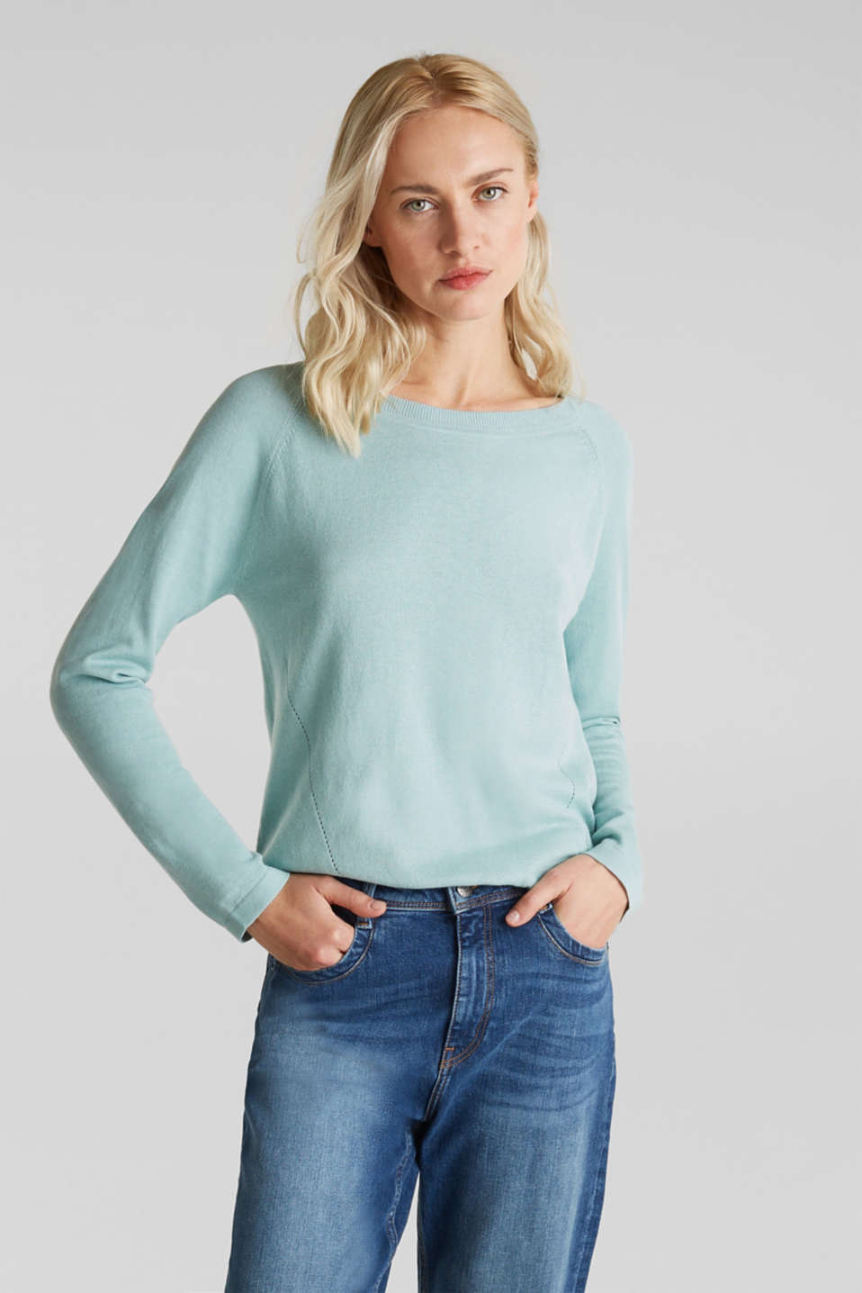 With linen: Jumper with open-work patterned details, LIGHT AQUA GREEN, detail image number 0