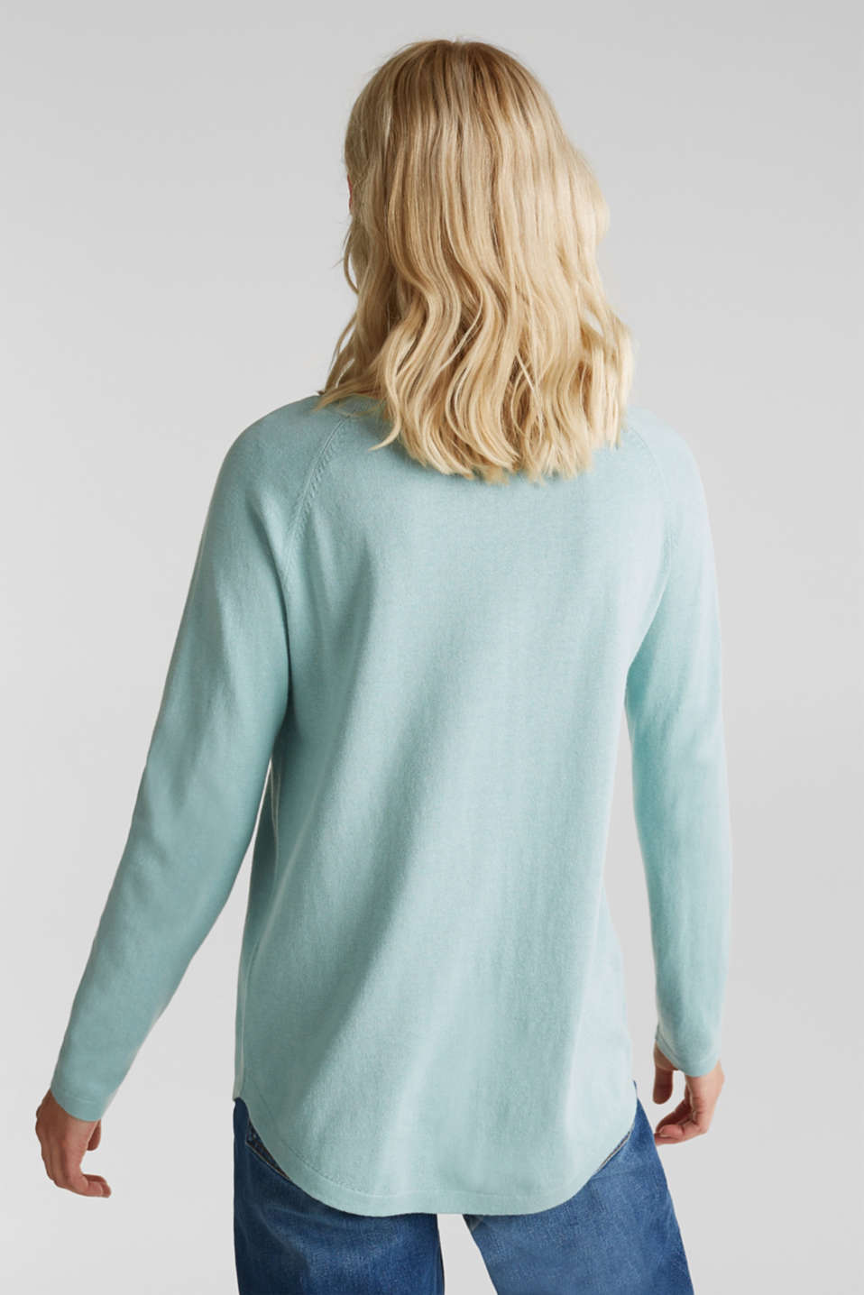 With linen: Jumper with open-work patterned details, LIGHT AQUA GREEN, detail image number 2