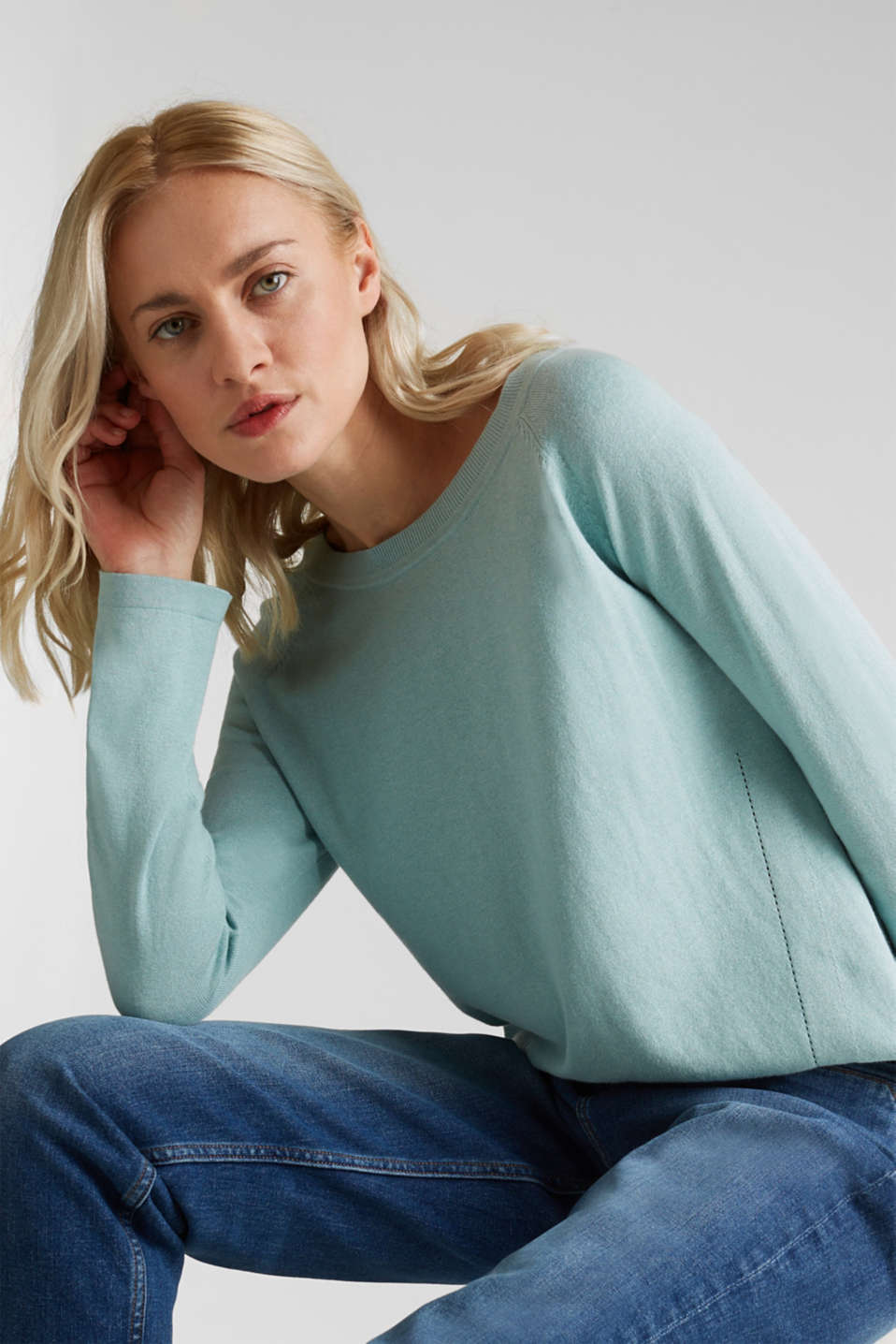 With linen: Jumper with open-work patterned details, LIGHT AQUA GREEN, detail image number 5