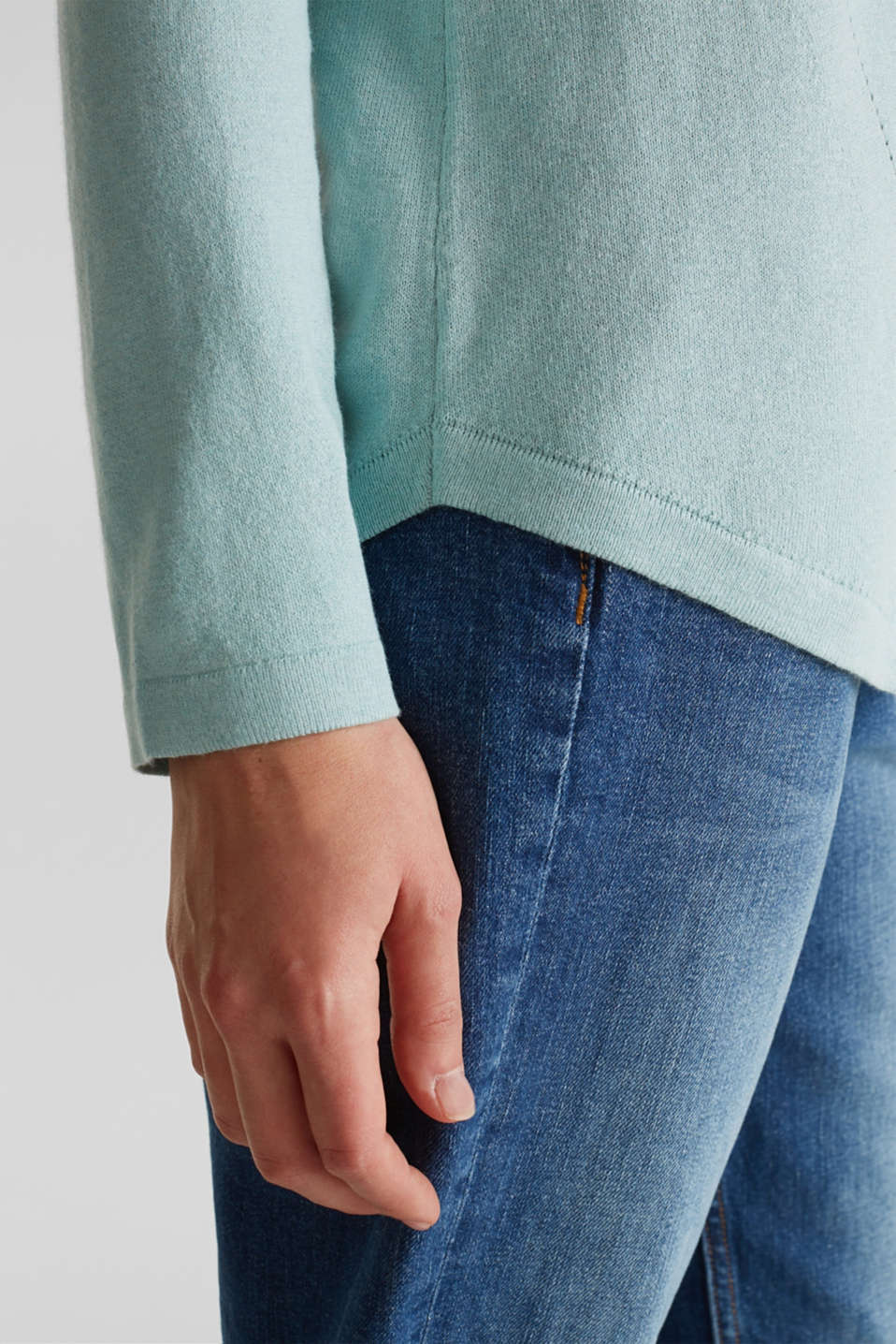 With linen: Jumper with open-work patterned details, LIGHT AQUA GREEN, detail image number 4