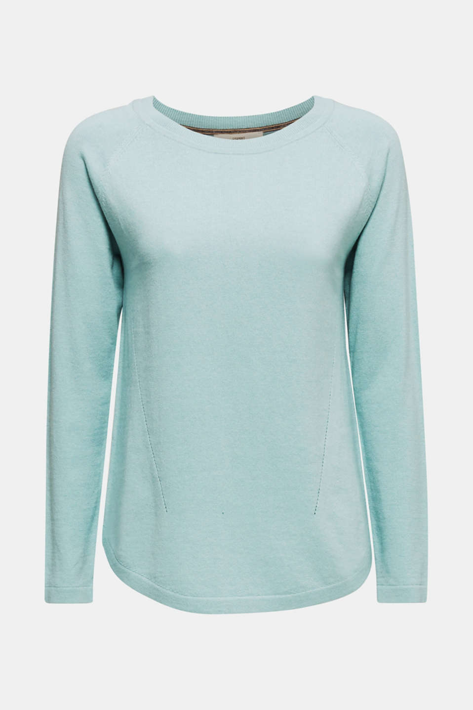 With linen: Jumper with open-work patterned details, LIGHT AQUA GREEN, detail image number 6