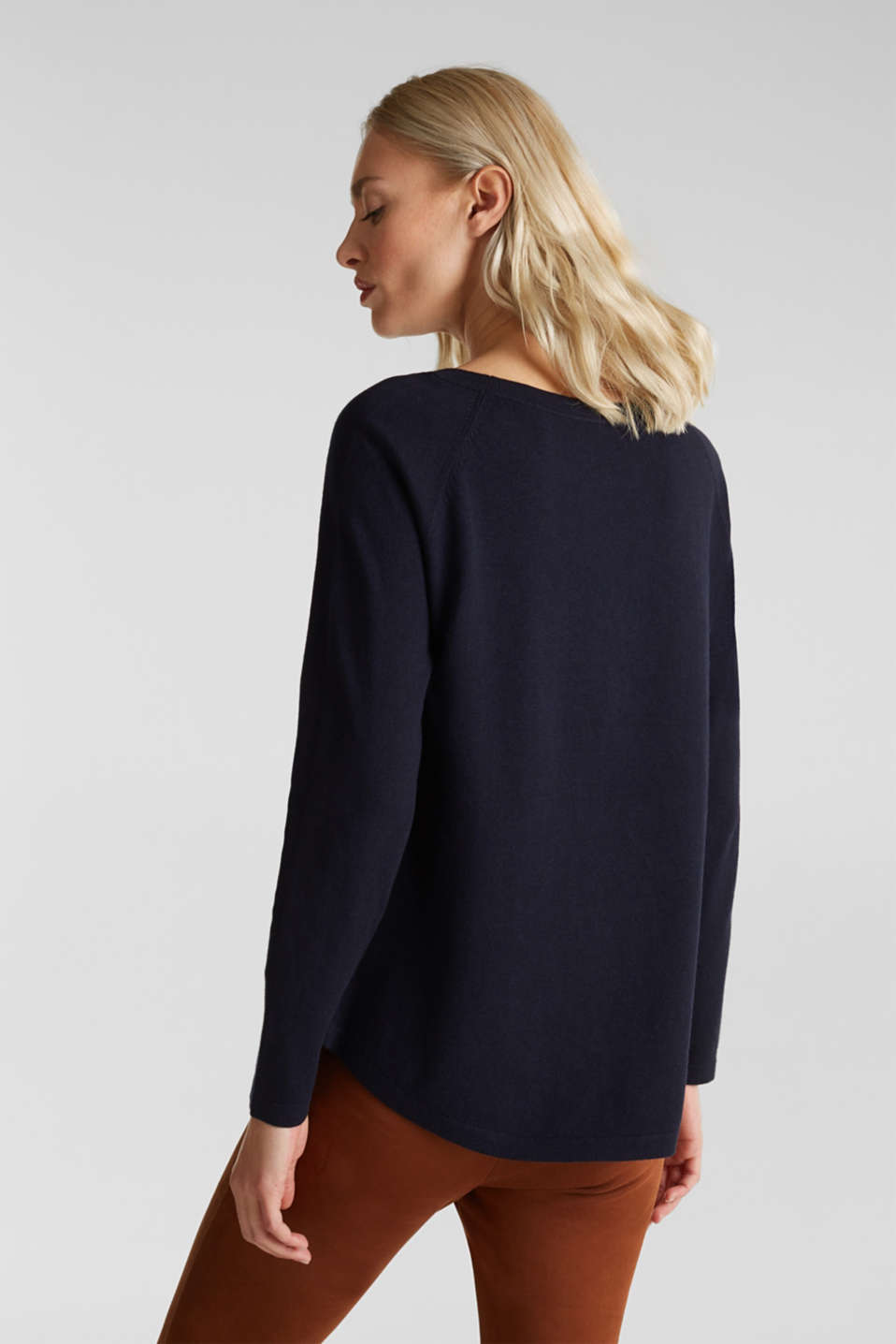 With linen: Jumper with open-work patterned details, NAVY, detail image number 3
