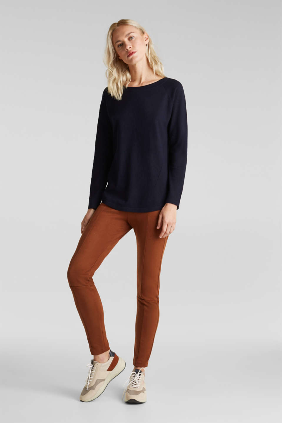 With linen: Jumper with open-work patterned details, NAVY, detail image number 1