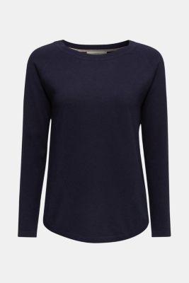 With linen: Jumper with open-work patterned details, NAVY, detail