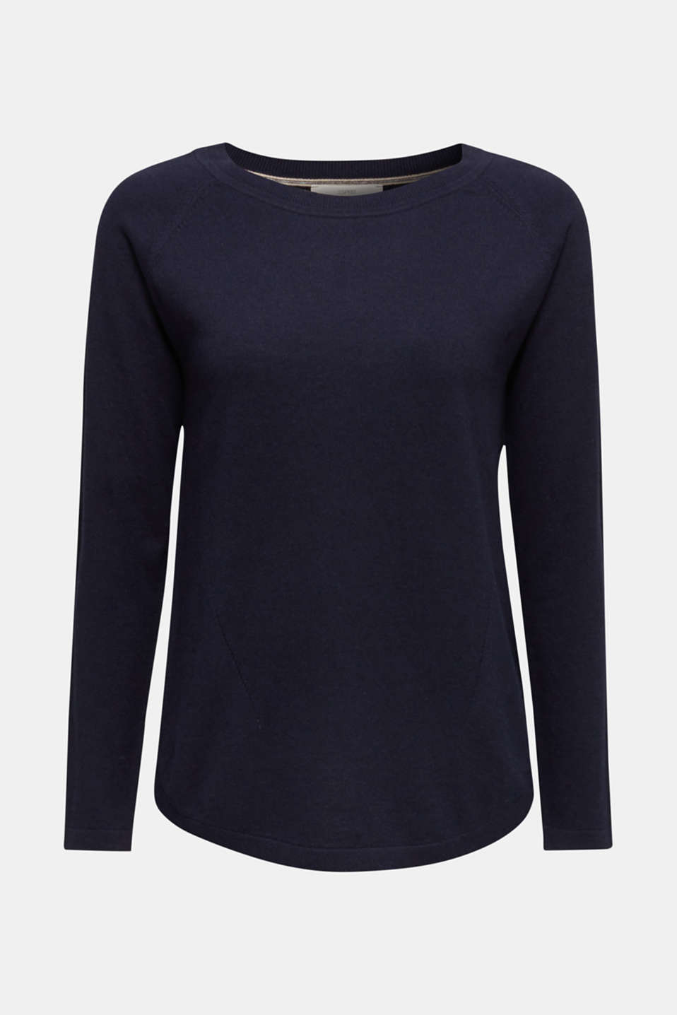 With linen: Jumper with open-work patterned details, NAVY, detail image number 5