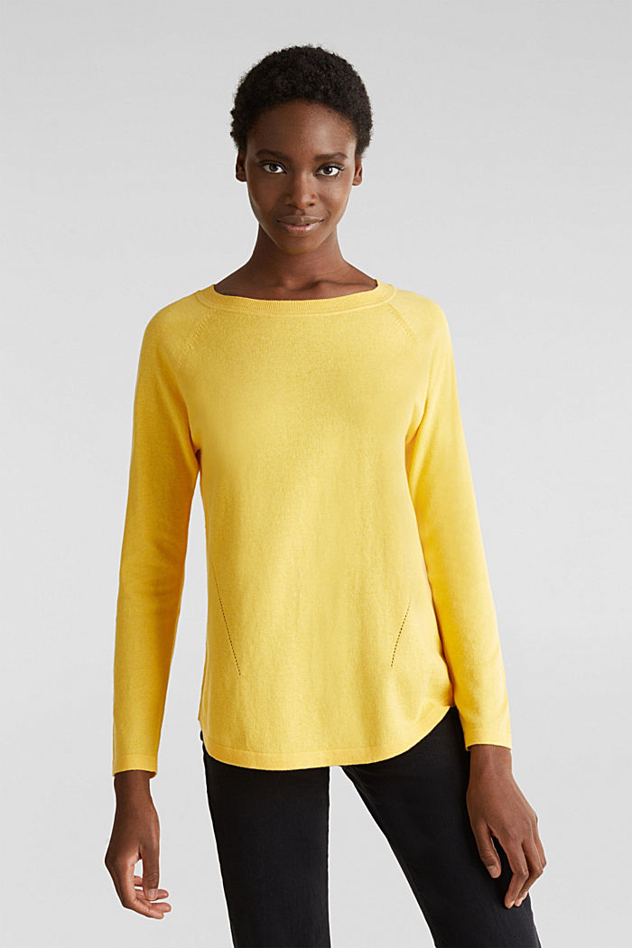 With linen: Jumper with open-work patterned details, YELLOW, detail image number 0