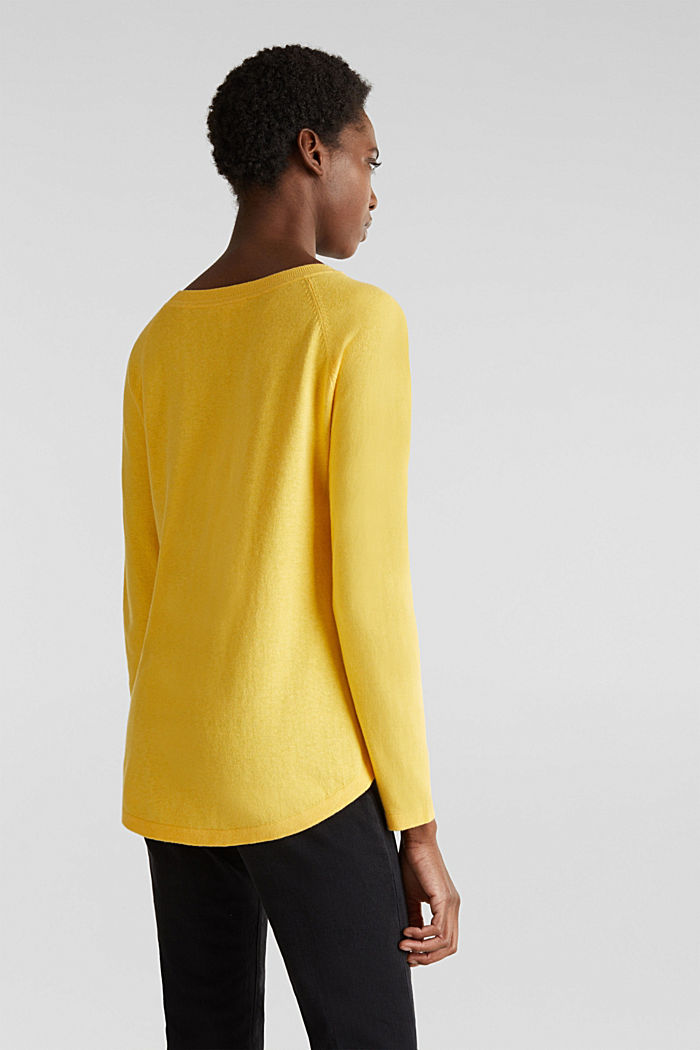 With linen: Jumper with open-work patterned details, YELLOW, detail image number 2