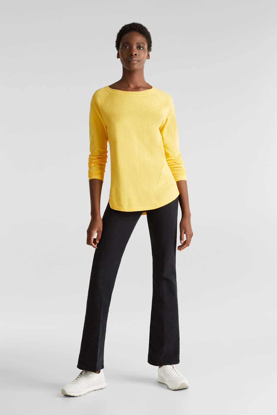 With linen: Jumper with open-work patterned details, YELLOW, detail image number 1