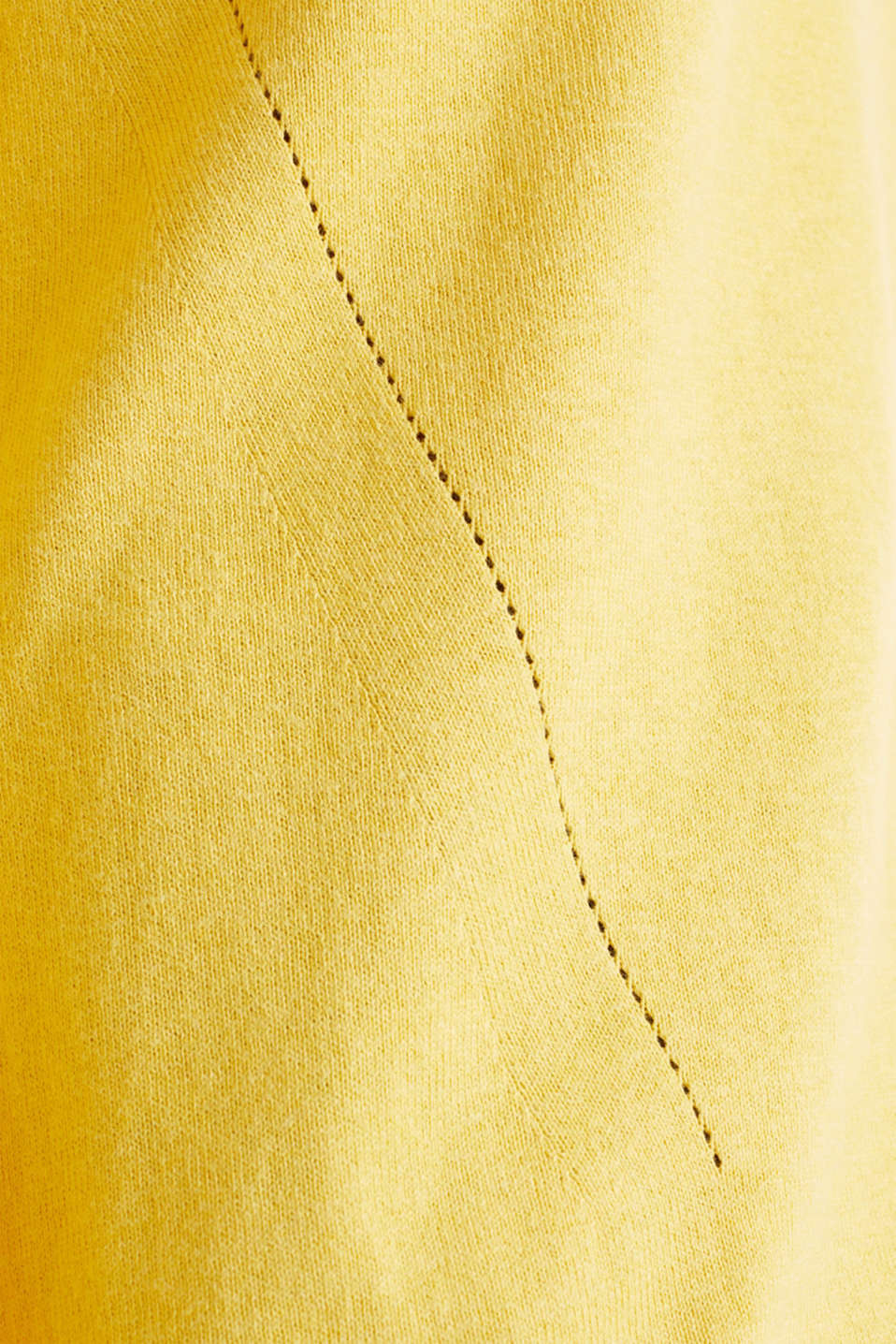 With linen: Jumper with open-work patterned details, YELLOW, detail image number 3