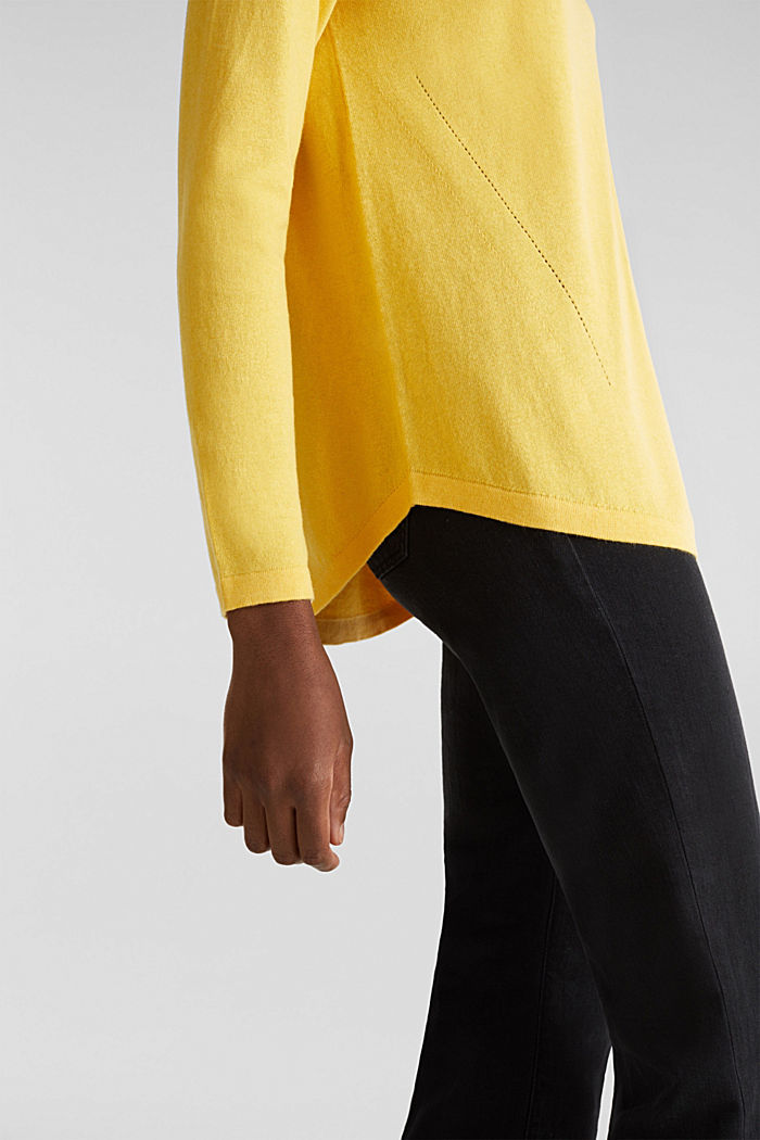 With linen: Jumper with open-work patterned details, YELLOW, detail image number 4