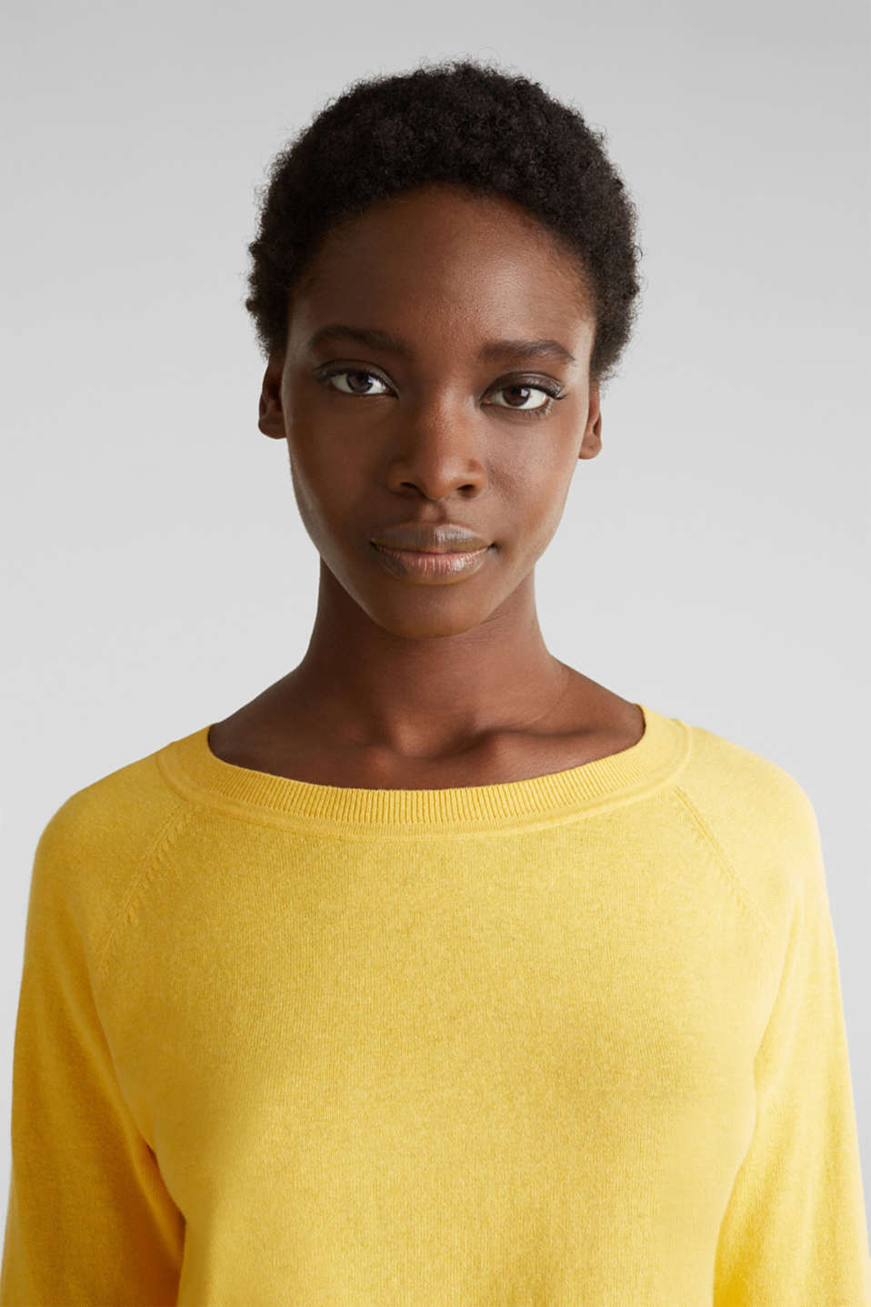 With linen: Jumper with open-work patterned details, YELLOW, detail image number 5