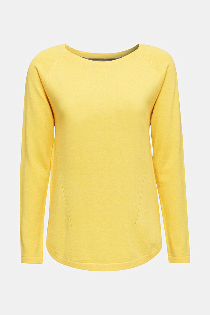 With linen: Jumper with open-work patterned details, YELLOW, detail image number 6