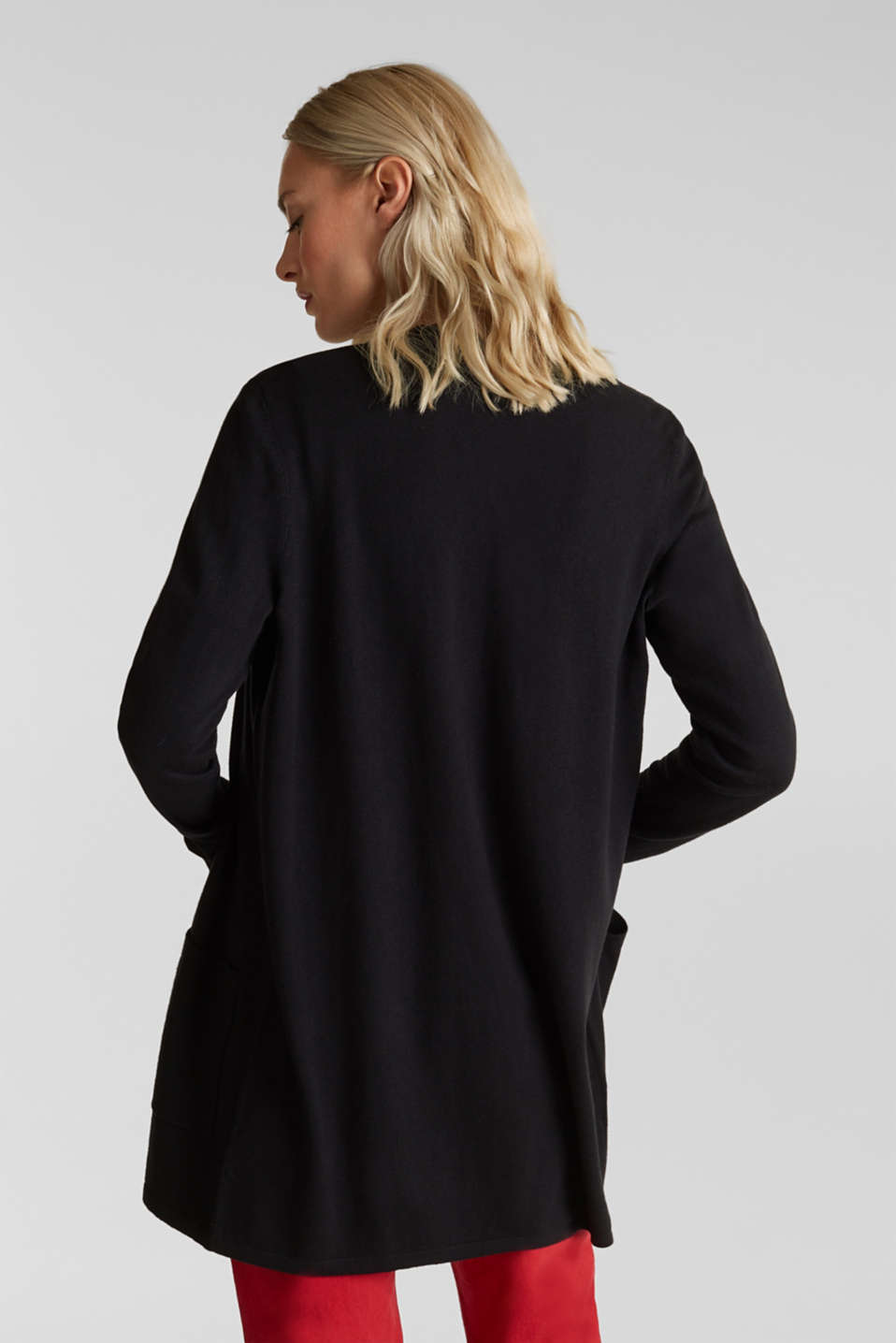 With linen: open cardigan with open-work pattern details, BLACK, detail image number 3