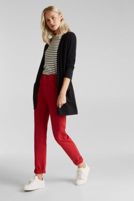 With linen: open cardigan with open-work pattern details, BLACK, detail