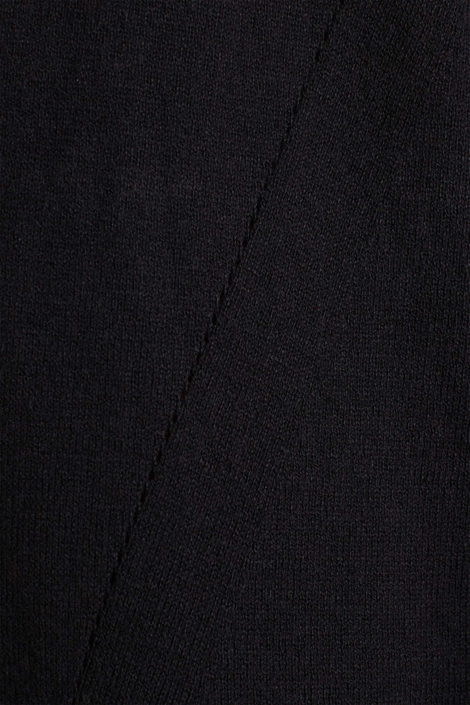 With linen: open cardigan with open-work pattern details, BLACK, detail image number 4