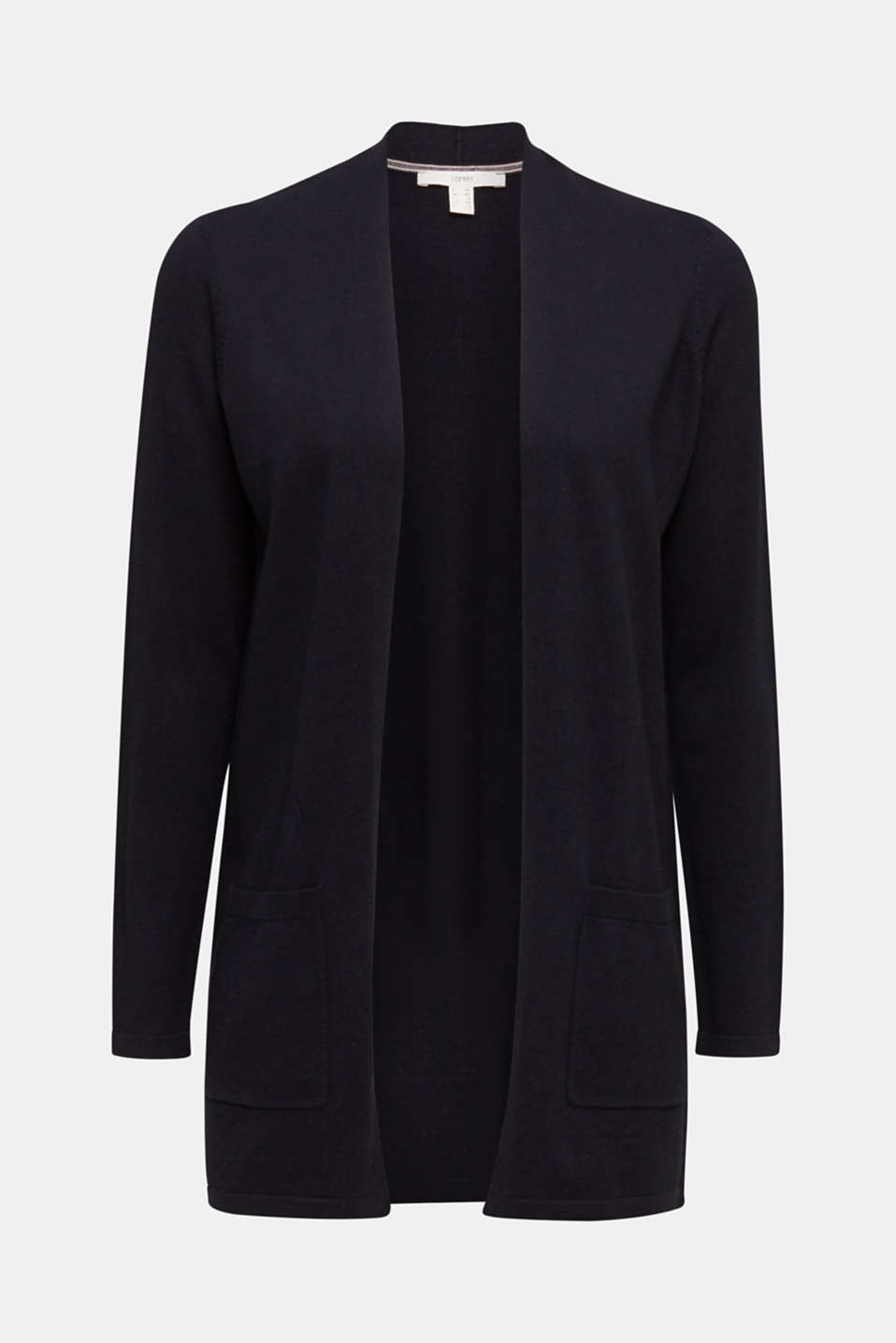 With linen: open cardigan with open-work pattern details, BLACK, detail image number 6