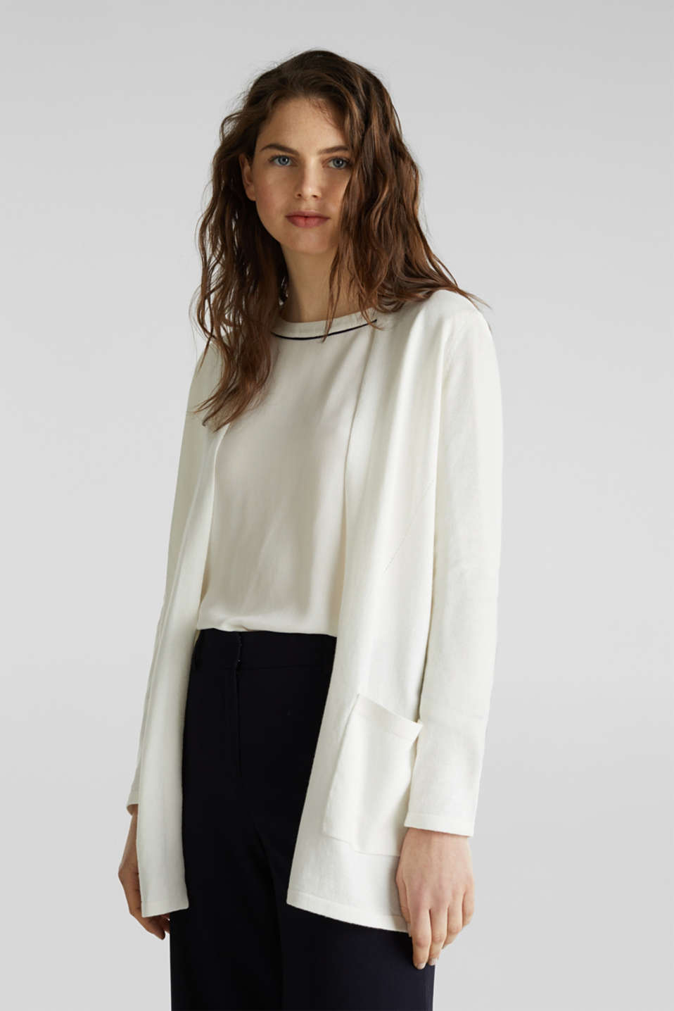 With linen: open cardigan with open-work pattern details, OFF WHITE, detail image number 0