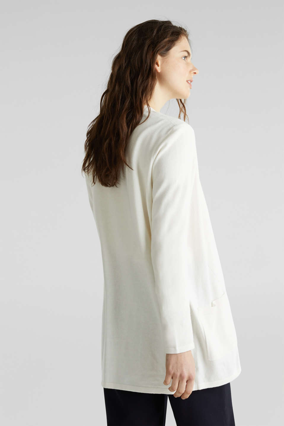 With linen: open cardigan with open-work pattern details, OFF WHITE, detail image number 3