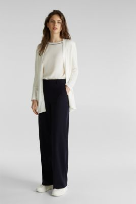 With linen: open cardigan with open-work pattern details, OFF WHITE, detail