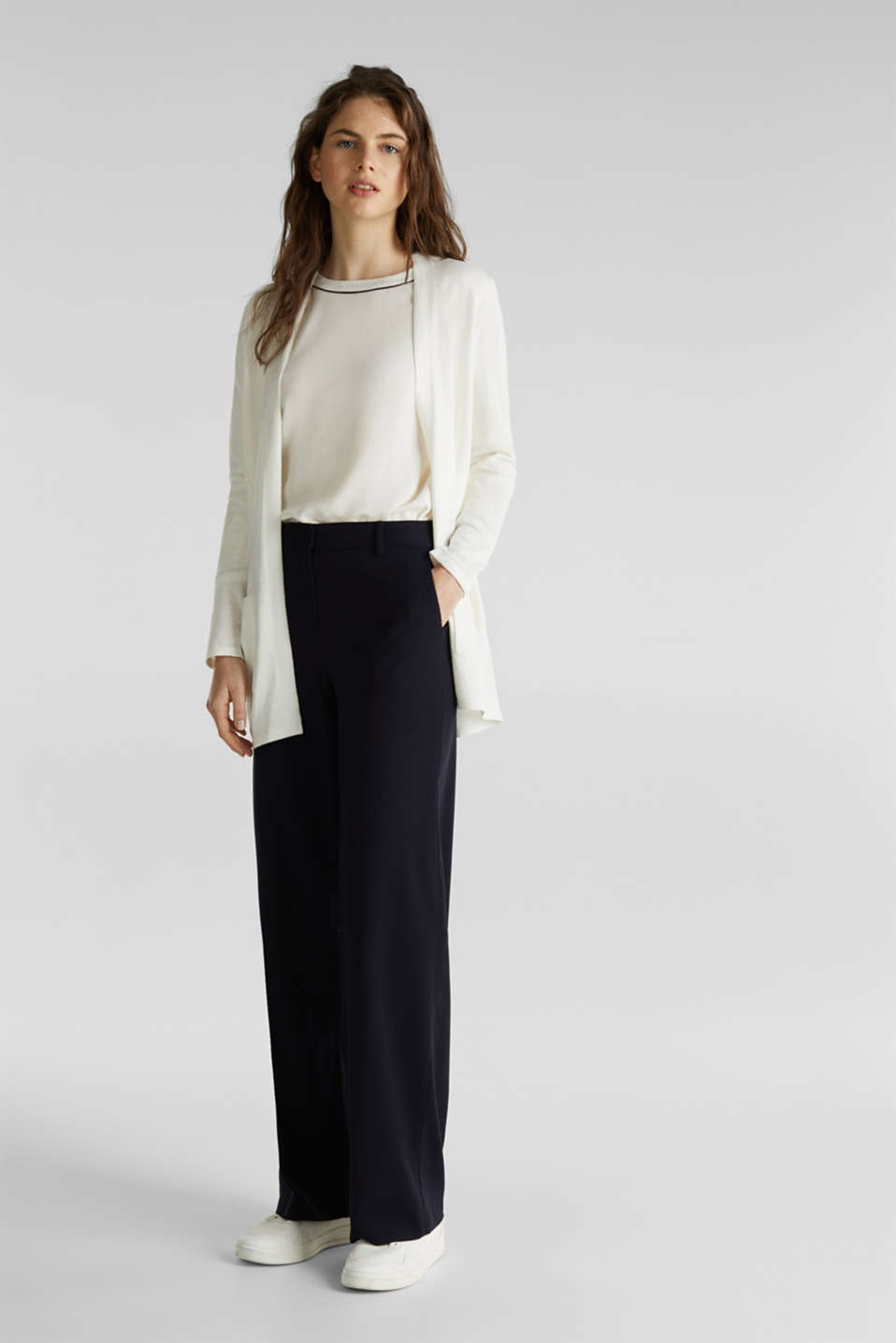 With linen: open cardigan with open-work pattern details, OFF WHITE, detail image number 1