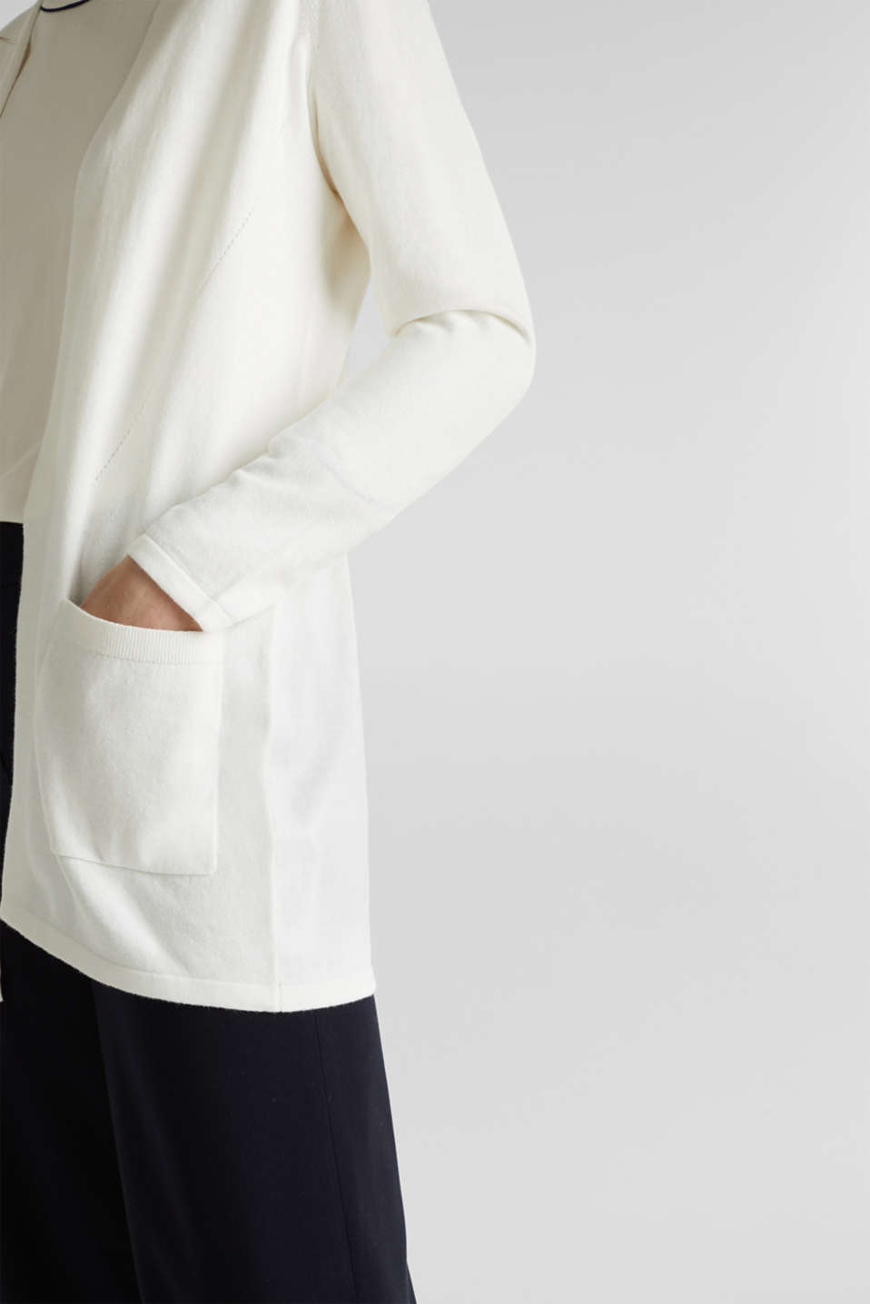 With linen: open cardigan with open-work pattern details, OFF WHITE, detail image number 2