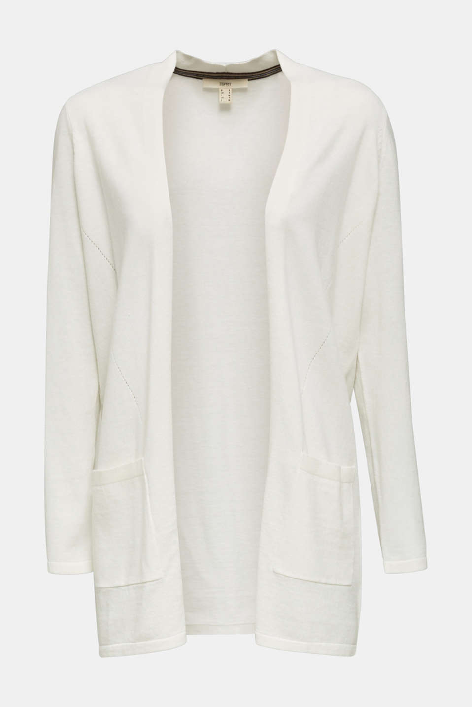 With linen: open cardigan with open-work pattern details, OFF WHITE, detail image number 6