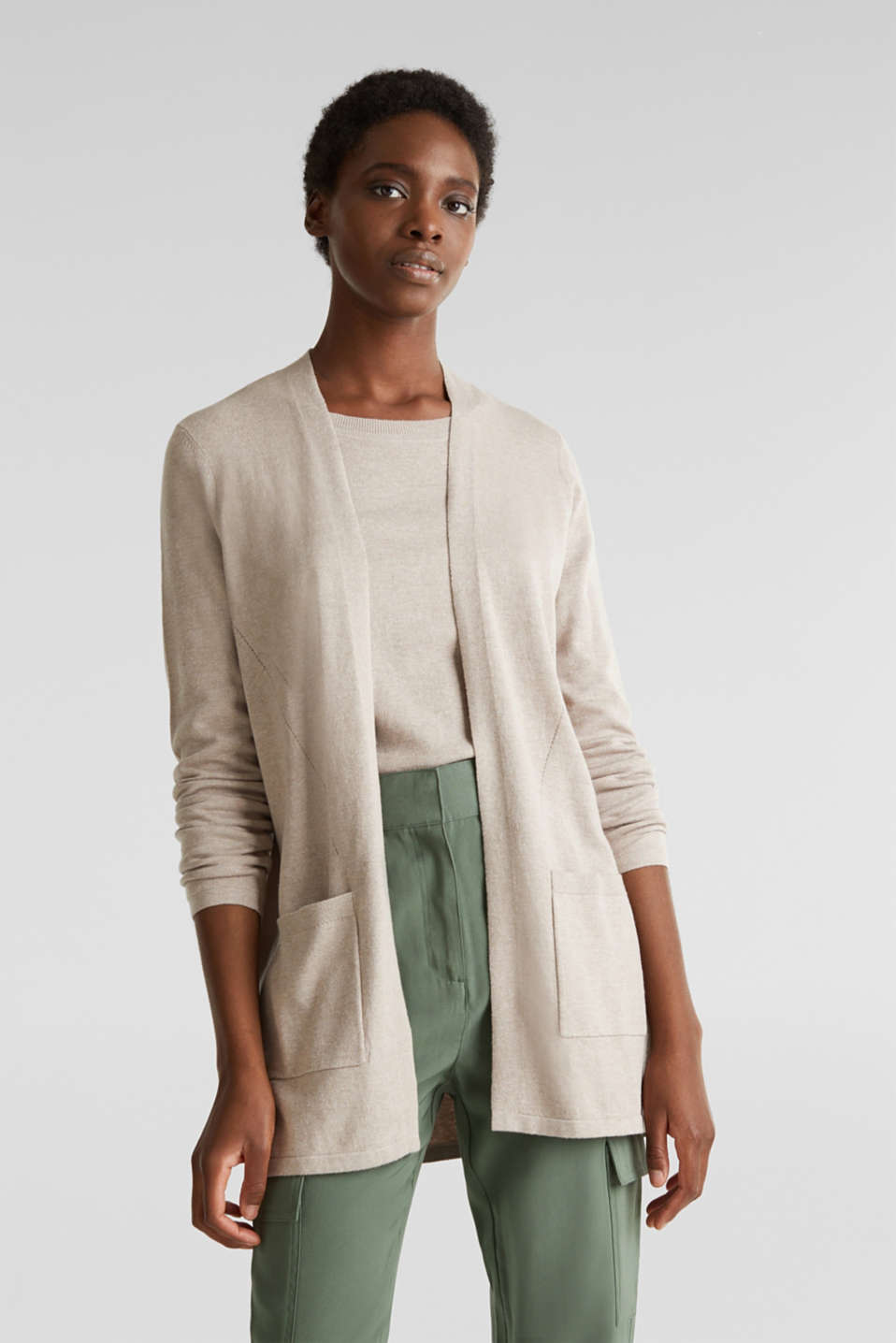 With linen: open cardigan with open-work pattern details, BEIGE 5, detail image number 0